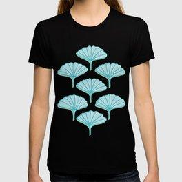 Turquoise Ginkgo Leaves Illustration T-shirt