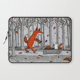 Fox Family Enjoying the Fall Leaves Laptop Sleeve