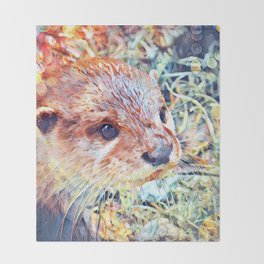Aquarell Otter Throw Blanket