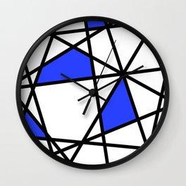 Geometric Modern triangles - white blue Wall Clock