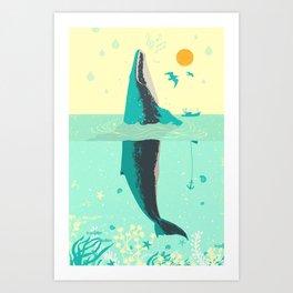 VINTAGE WHALE Art Print