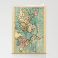 vintage map Stationery Cards featuring Vintage map by Hipster's Wonderland