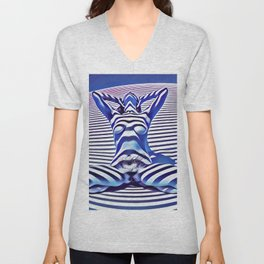 9665s-KMA_5201 Powerful Blue Woman Open Free Striped Sensual Sexy Abstract Nude Unisex V-Neck