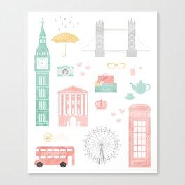 London Travel Print Canvas Print