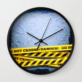 Grunge Background With Danger Tapes Wall Clock