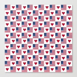 flag of the usa 9 with heart Canvas Print