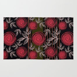Cute red roses on striped background. Rug