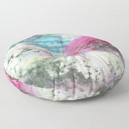 Grunge magenta teal hand painted watercolor Floor Pillow
