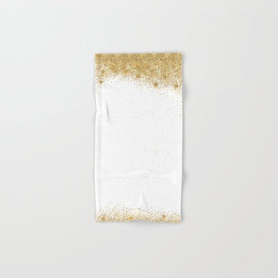 Sparkling golden glitter confetti II Hand & Bath Towel