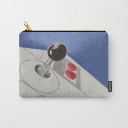 Classic Video Game Joystick in action drawing - Blue Carry-All Pouch