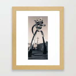 Dallas Traveling Man Vertical Panorama - Black and White Framed Art Print