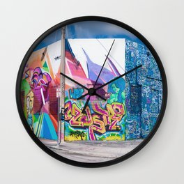 Tattooed Walls form Wynwood Miami Graffiti No. 3 Wall Clock