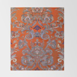 Painted Tibetan Brocade orange Throw Blanket