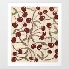 Sweet Cherry Batik Art Print
