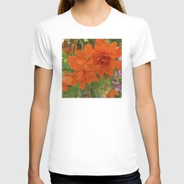 Alaskan Summer Flowers in Vibrant Red-Orange T-shirt