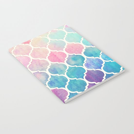 Rainbow Pastel Watercolor Moroccan Pattern Notebook