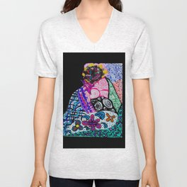 Clockwork Woman in the Garden Unisex V-Neck