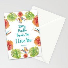 Sorry, Pardon, Thanks You, I love you, Ho'oponopono Stationery Cards