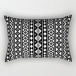 Aztec Essence Pattern II White on Black Rectangular Pillow