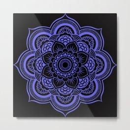 Mandala Black & Periwinkle Metal Print