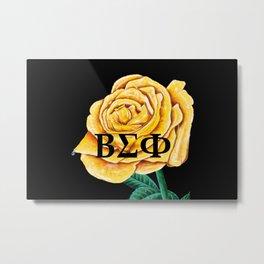 ΒΣΦ on Yellow Rose on Black (BSP) Metal Print