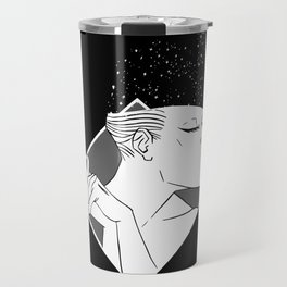Losing Her Mind Simple Woman Smiling In Monochrome With Clasped Hands Cartoon Style Travel Mug