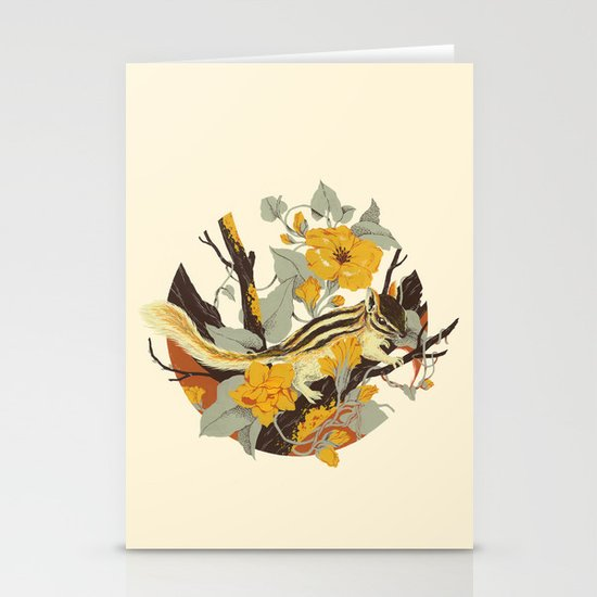 Chipmunk & Morning Glory Stationery Cards