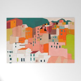 italy coast houses minimal abstract painting Welcome Mat