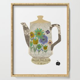Mod Flowers Coffee Pot Collage Serving Tray
