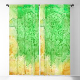 Stained Glass Green & Orange Blackout Curtain