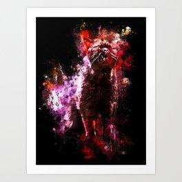 british shorthair cat ready to attack splatter watercolor Art Print