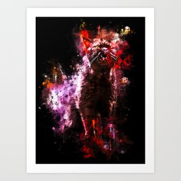 british shorthair cat ready to attack splatter watercolor Art Print