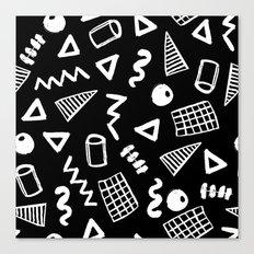 Black and white shapes minimal linocut pattern graphic scandi design Canvas Print