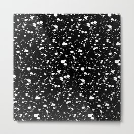 Paint Spatter White on Black Metal Print