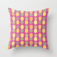 pineapples Throw Pillows featuring Pineapples by Ornaart
