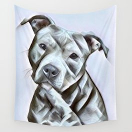 Pit Bull lover, a portrait of a beautiful pit bull puppy Wall Tapestry