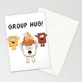 """Nice Fire Camping Shirt For Campers """"Group Hug"""" T-shirt Design Marshmallow Chair Bonfire Mountains Stationery Cards"""