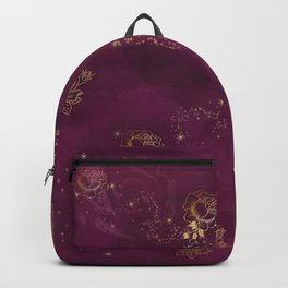 Burgundy and Gold Roses Backpack