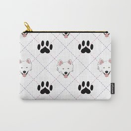 American Eskimo Paw Print Pattern Carry-All Pouch