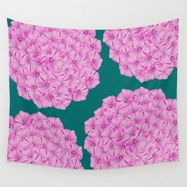 Flowerpower - Pink Flower Balls On A Dark Green Background - #society6 Wall Tapestry