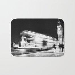 Bus passing Westminster B&W Bath Mat