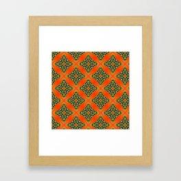 Beautiful Orange, Blue and Yellow beadwork inspired print Framed Art Print