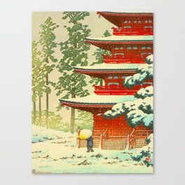 Vintage Japanese Woodblock Print Japanese Shinto Shrine Red Pagoda With Snow Capped Trees Canvas Print