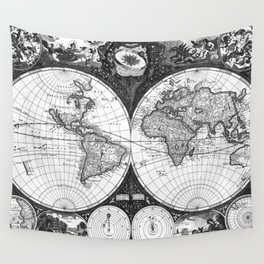 Black and White World Map (1665) Wall Tapestry