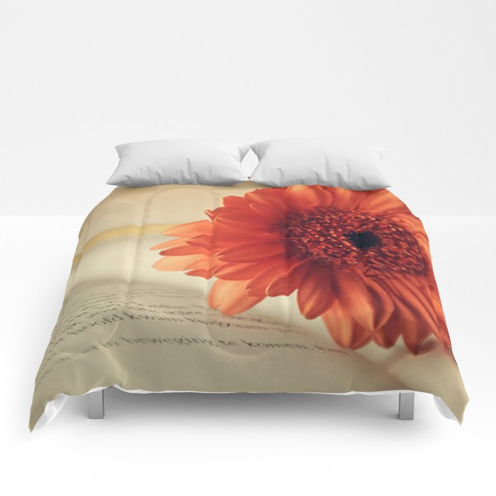Golden Sunlight Orange Gerbera Comforters