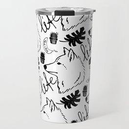 Black white hand drawn wolf floral typography Travel Mug