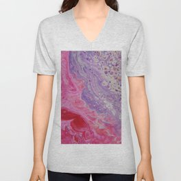 Fluid Nature - Colliding Pastels - Pink Lilac Abstract Art Unisex V-Neck