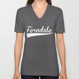 FERNDALE Baseball Vintage Retro Font Unisex V-Neck