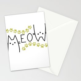 Meow Cat Mom Lover , Women Cat Lover,  for Her, Gifts for Cat Lovers Stationery Cards