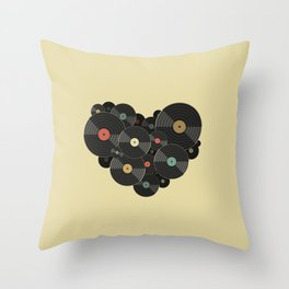Heart of a Vinyl Lover Throw Pillow